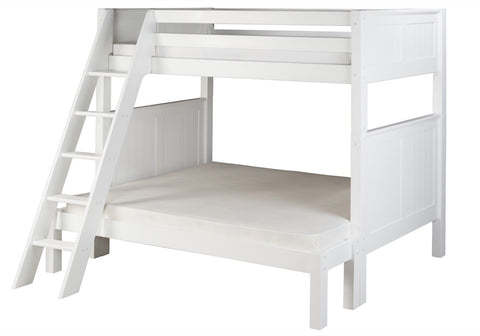Camaflexi Twin over Full Bunk Bed - Panel Headboard - Angle Ladder - White Finish - C1723_WH-Bunk Beds-HipBeds.com