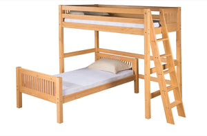 Camaflexi Twin over Twin Loft Bed - L Shape - Mission Headboard - Lateral Ladder - Natural Finish - C1811L_NT-Loft Beds-HipBeds.com
