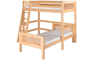 Camaflexi Twin over Twin Loft Bed - L Shape - Mission Headboard - Natural Finish - C1811_NT-Loft Beds-HipBeds.com