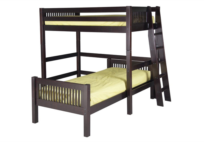 Camaflexi Twin over Twin Loft Bed - L Shape - Mission Headboard - Lateral Ladder - Cappuccino Finish  - C1812L_CP