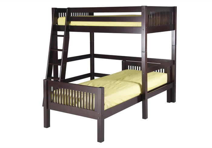 Camaflexi Twin over Twin Loft Bed - L Shape - Mission Headboard - Cappuccino Finish  - C1812_CP