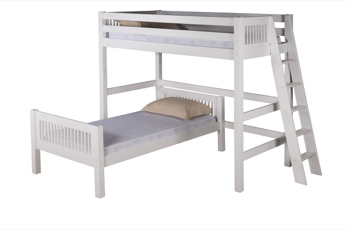 Camaflexi Twin over Twin Loft Bed - L Shape - Mission Headboard - Lateral Ladder - White Finish  - C1813L_WH