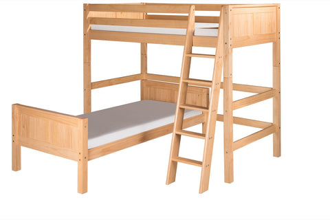 Camaflexi Twin over Twin Loft Bed - L Shape - Panel Headboard - Natural Finish - C1821_NT-Loft Beds-HipBeds.com