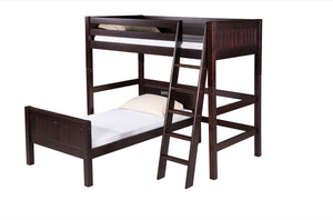 Camaflexi Twin over Twin Loft Bed - L Shape - Panel Headboard - Cappuccino Finish - C1822_CP-Loft Beds-HipBeds.com