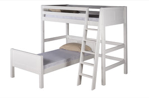 Camaflexi Twin over Twin Loft Bed - L Shape - Panel Headboard - White Finish - C1823_WH-Loft Beds-HipBeds.com
