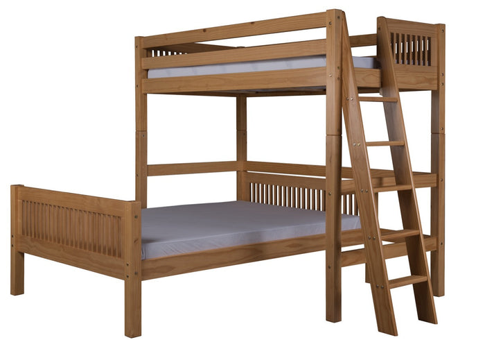 Camaflexi Twin over Full Loft Bed - L Shape - Mission Headboard - Lateral Ladder - Natural Finish  - C1911L_NT