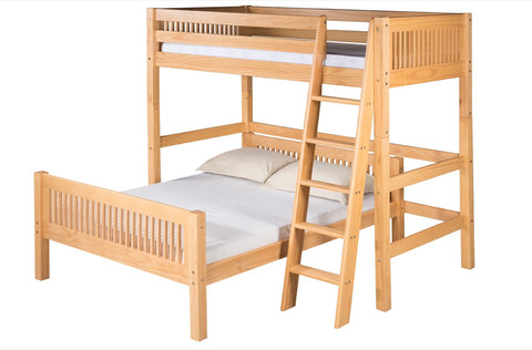 Camaflexi Twin over Full Loft Bed - L Shape - Mission Headboard - Natural Finish - C1911_NT-Loft Beds-HipBeds.com