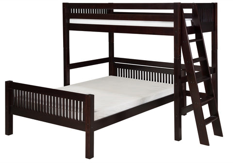 Camaflexi Twin over Full Loft Bed - L Shape - Mission Headboard - Lateral Ladder - Cappuccino Finish - C1912L_CP-Loft Beds-HipBeds.com