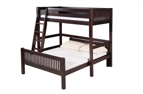 Camaflexi Twin over Full Loft Bed - L Shape - Mission Headboard - Cappuccino Finish - C1912_CP-Loft Beds-HipBeds.com