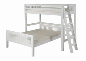 Camaflexi Twin over Full Loft Bed - L Shape - Mission Headboard - Lateral Ladder - White Finish - C1913L_WH-Loft Beds-HipBeds.com