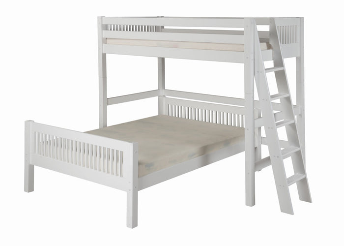 Camaflexi Twin over Full Loft Bed - L Shape - Mission Headboard - Lateral Ladder - White Finish  - C1913L_WH