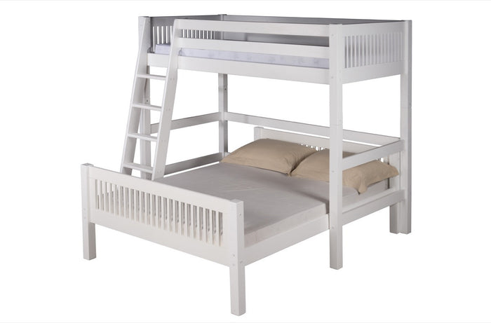 Camaflexi Twin over Full Loft Bed - L Shape - Mission Headboard - White Finish  - C1913_WH