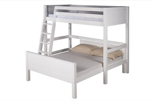 Camaflexi Twin over Full Loft Bed - L Shape - Panel Headboard - White Finish - C1923_WH-Loft Beds-HipBeds.com