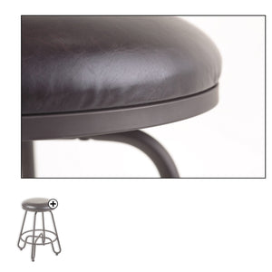 Leggett & Platt Denver Metal Counter Stool w/ Backless Brown Upholstered Swivel-Seat & Umber Metal Frame Finish, 26-Inch-Table & Bar Stools-HipBeds.com