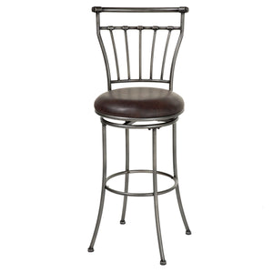 Leggett & Platt Topeka Metal Barstool w/ Coffee Upholstered Swivel-Seat & Striated Silver Frame Finish, 30-Inch-Table & Bar Stools-HipBeds.com