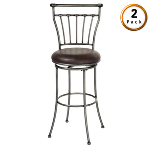 Leggett & Platt Topeka Metal Counter Stool w/ Coffee Upholstered Swivel-Seat & Striated Silver Frame Finish, 2-Pack, 26-Inch-Table & Bar Stools-HipBeds.com