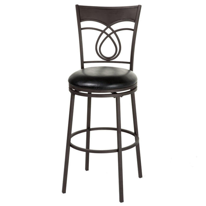 Leggett & Platt Madison Metal Barstool w/ Black Upholstered Swivel-Seat & Umber Metal Frame Finish, 30-Inch
