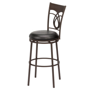 Leggett & Platt Madison Metal Barstool w/ Black Upholstered Swivel-Seat & Umber Metal Frame Finish, 30-Inch-Table & Bar Stools-HipBeds.com