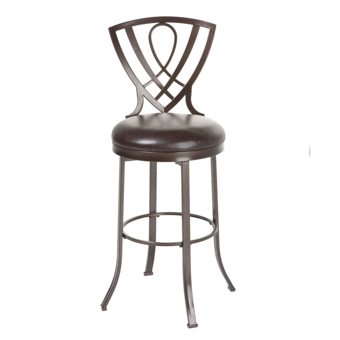 Leggett & Platt Lincoln Metal Barstool w/ Chocolate Upholstered Swivel-Seat & Brown Crystal Frame Finish, 30-Inch