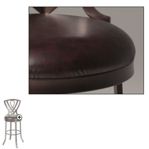 Leggett & Platt Lincoln Metal Barstool w/ Chocolate Upholstered Swivel-Seat & Brown Crystal Frame Finish, 30-Inch-Table & Bar Stools-HipBeds.com