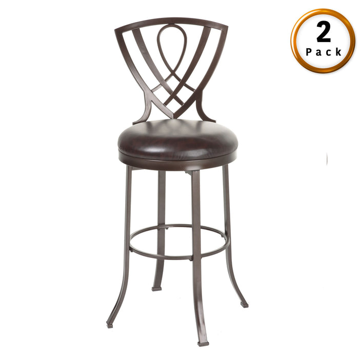 Leggett & Platt Lincoln Metal Counter Stool w/ Chocolate Upholstered Swivel-Seat & Brown Crystal Frame Finish, 2-Pack, 26-Inch