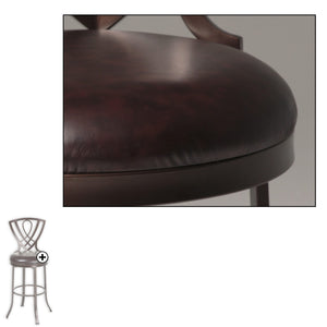 Leggett & Platt Lincoln Metal Counter Stool w/ Chocolate Upholstered Swivel-Seat & Brown Crystal Frame Finish, 2-Pack, 26-Inch-Table & Bar Stools-HipBeds.com