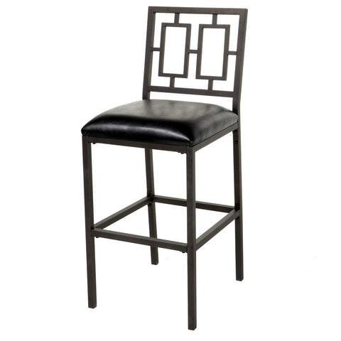 Leggett & Platt Lansing Metal Barstool w/ Black Upholstered Seat & Coffee Frame Finish, 30-Inch-Table & Bar Stools-HipBeds.com