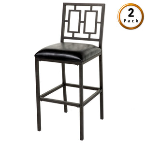 Leggett & Platt Lansing Metal Barstool w/ Black Upholstered Seat & Coffee Frame Finish, 2-Pack, 30-Inch-Table & Bar Stools-HipBeds.com