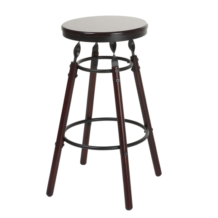 Leggett & Platt Boston Wood Counter Stool w/ Dark Cherry Backless Seat & Charcoal Metal Finish, 26-Inch