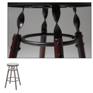 Leggett & Platt Boston Wood Counter Stool w/ Dark Cherry Backless Seat & Charcoal Metal Finish, 26-Inch-Table & Bar Stools-HipBeds.com