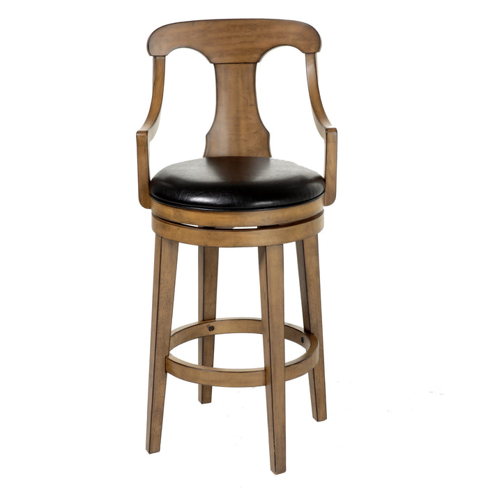 Leggett & Platt Albany Wood Counter Stool w/ Black Upholstered Swivel-Seat & Acorn Frame Finish, 26-Inch