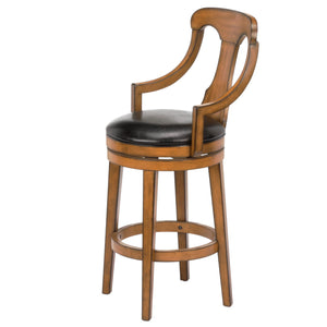 Leggett & Platt Albany Wood Counter Stool w/ Black Upholstered Swivel-Seat & Acorn Frame Finish, 26-Inch-Table & Bar Stools-HipBeds.com