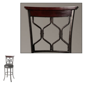 Leggett & Platt Tallahassee Metal Barstool w/ Black Upholstered Swivel-Seat & Heritage Silver Frame Finish, 30-Inch-Table & Bar Stools-HipBeds.com