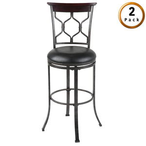 Leggett & Platt Tallahassee Metal Barstool w/ Black Upholstered Swivel-Seat & Heritage Silver Frame Finish, 2-Pack, 30-Inch-Table & Bar Stools-HipBeds.com