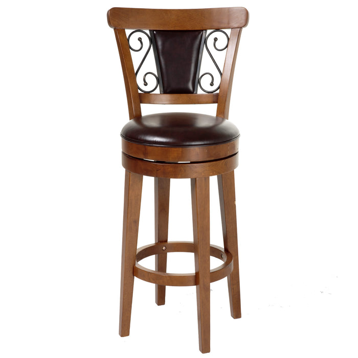 Leggett & Platt Trenton Wood Barstool w/ Brown Upholstered Swivel-Seat & Nutmeg Frame Finish, 30-Inch