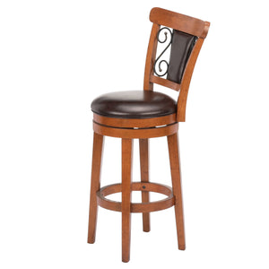 Leggett & Platt Trenton Wood Barstool w/ Brown Upholstered Swivel-Seat & Nutmeg Frame Finish, 30-Inch-Table & Bar Stools-HipBeds.com