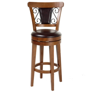 Leggett & Platt Trenton Wood Counter Stool w/ Brown Upholstered Swivel-Seat & Nutmeg Frame Finish, 26-Inch-Table & Bar Stools-HipBeds.com