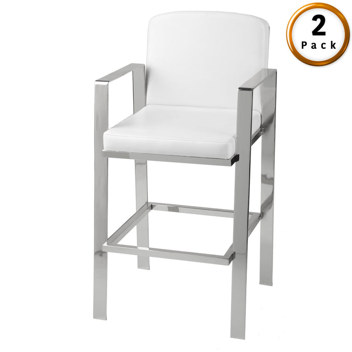 Leggett & Platt Juneau Metal Barstool w/ White Upholstered Seat & Nickel Frame Finish, 2-Pack, 30-Inch