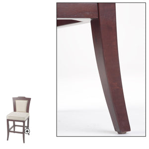 Leggett & Platt Springfield Wood Barstool w/ Nail head Trimmed Oatmeal Upholstered Seat & Merlot Finished Frame, 30-Inch-Table & Bar Stools-HipBeds.com
