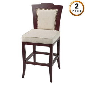 Leggett & Platt Springfield Wood Barstool w/ Nail head Trimmed Oatmeal Upholstered Seat & Merlot Finished Frame, 2-Pack, 30-Inch-Table & Bar Stools-HipBeds.com