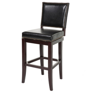 Leggett & Platt Sacramento Wood Counter Stool w/ Black Upholstered Nail head Trim Swivel-Seat & Espresso Frame Finish, 26-Inch-Table & Bar Stools-HipBeds.com