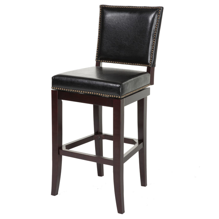 Leggett & Platt Sacramento Wood Counter Stool w/ Black Upholstered Nail head Trim Swivel-Seat & Espresso Frame Finish, 26-Inch