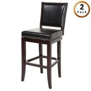 Leggett & Platt Sacramento Wood Counter Stool w/ Black Upholstered Nail head Trim Swivel-Seat & Espresso Frame Finish, 2-Pack, 26-Inch-Table & Bar Stools-HipBeds.com