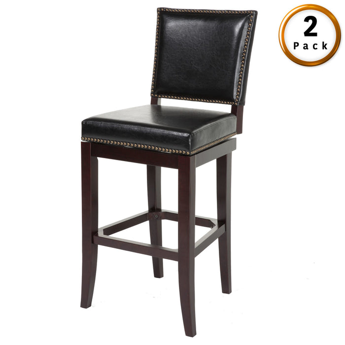 Leggett & Platt Sacramento Wood Counter Stool w/ Black Upholstered Nail head Trim Swivel-Seat & Espresso Frame Finish, 2-Pack, 26-Inch