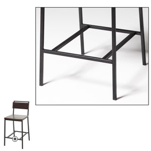 Leggett & Platt Olympia Metal Counter Stool w/ Black Cherry Wooden Seat & Matte Black Finished Frame, 26-Inch-Table & Bar Stools-HipBeds.com