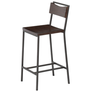Leggett & Platt Columbus Metal Barstool w/ Black Cherry Wooden Seat & Matte Black Frame Finish, 2-Pack, 30-Inch-Table & Bar Stools-HipBeds.com