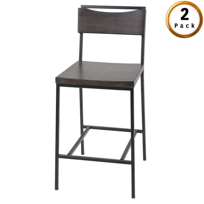 Leggett & Platt Columbus Metal Counter Stool w/ Black Cherry Wooden Seat & Matte Black Frame Finish, 2-Pack, 26-Inch