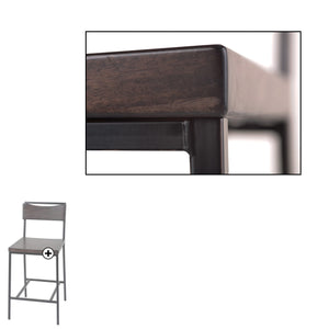 Leggett & Platt Columbus Metal Counter Stool w/ Black Cherry Wooden Seat & Matte Black Frame Finish, 2-Pack, 26-Inch-Table & Bar Stools-HipBeds.com