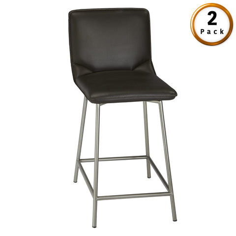 Leggett & Platt Pierre Metal Barstool w/ Cappuccino Upholstered Seat & Stainless Steel Frame, 2-Pack, 30-Inch-Table & Bar Stools-HipBeds.com