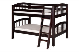 Camaflexi Low Bunk Bed - Arch Spindle Headboard - Angle Ladder - Cappuccino Finish - C2002A_CP-Bunk Beds-HipBeds.com